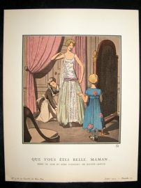 Gazette du Bon Ton by Brissaud 1922 Pochoir. Que vous etes Belle, Maman